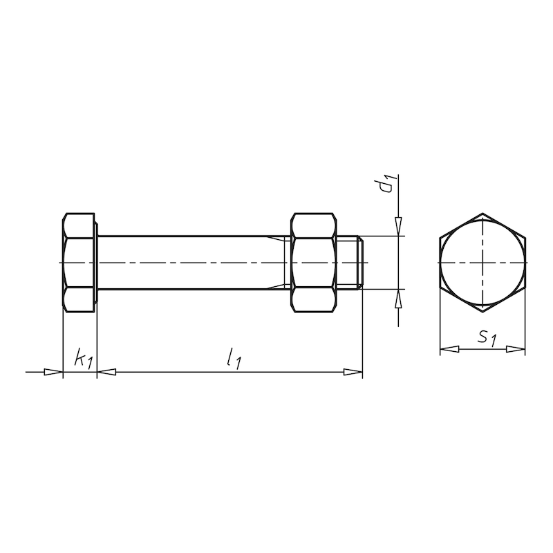 Sechskantschraube mit Schaft SB-GARNITUR DIN EN 15048-1 - SHR-MU-DIN7990-4.6-SW30-(TZN)-M20X40