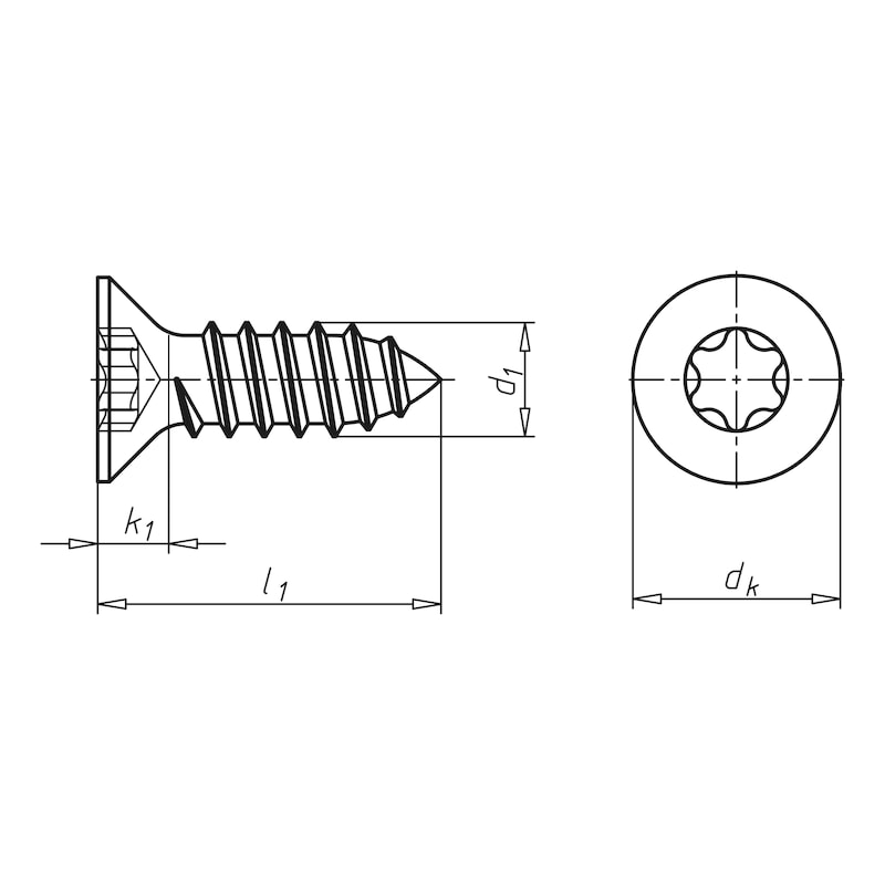 Parafuso rosca de chapa com cabeça de embeber, forma C, com fenda TX - 2