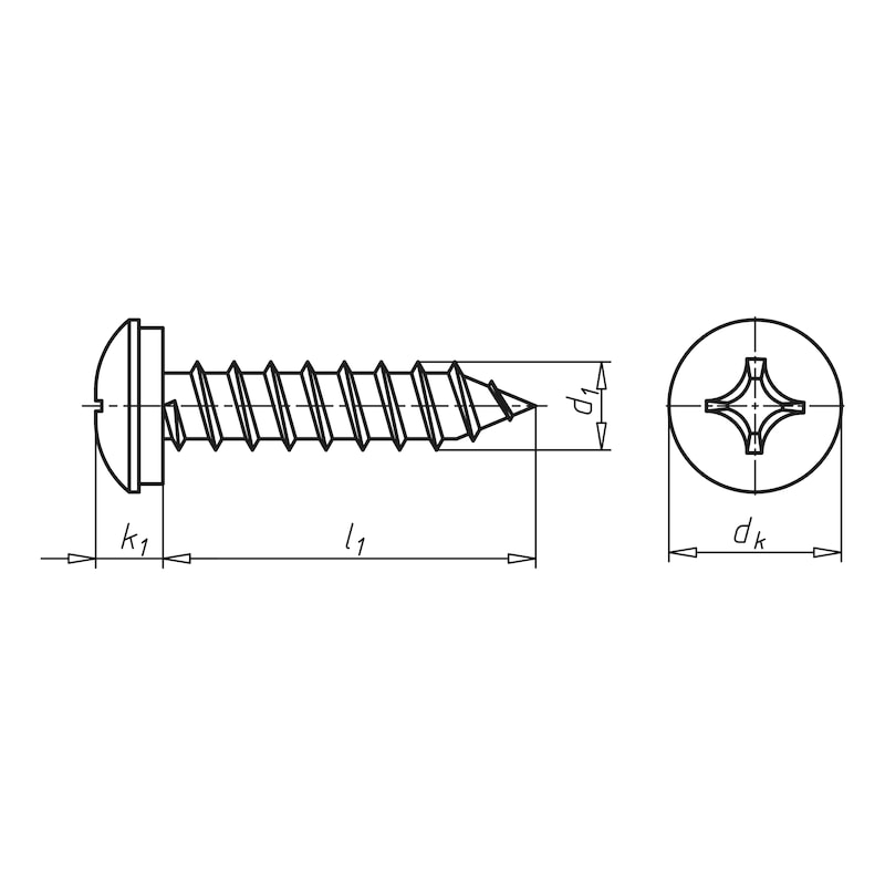 Number plate screw - SCR-PANHD-NRPLT-(A2K)-4,8X16