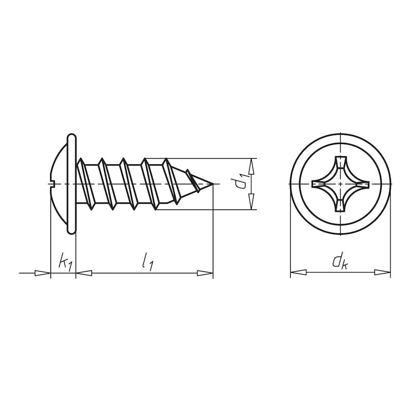 Linsenkopf-Blechschraube mit Flansch - 2