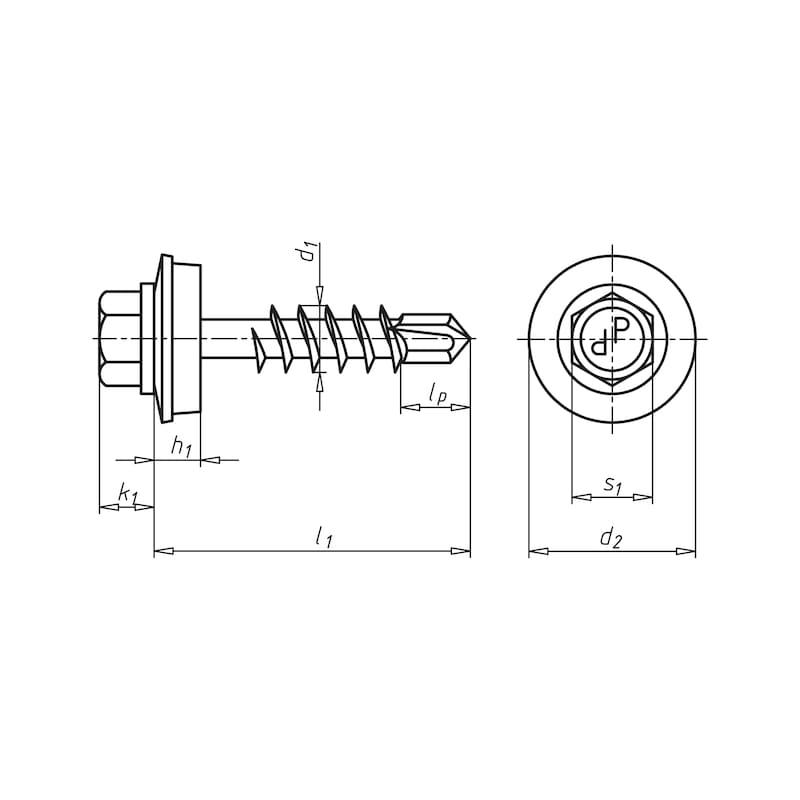 Bohrschraube Sechskantkopf mit Holzgewinde und Dichtscheibe piasta<SUP>®</SUP> - 2
