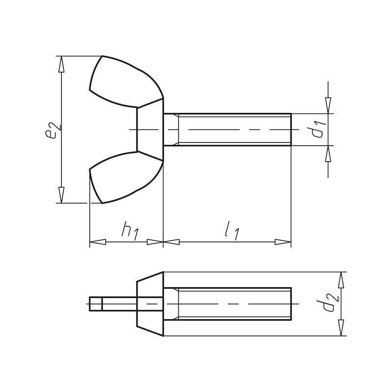 Flügelschraube eckige Flügelform - 2