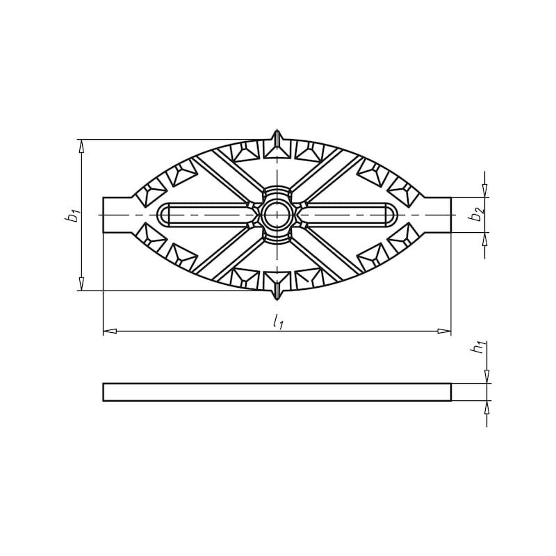 Terrassenverbinder oval - VERBPL-MET-TERAS-ALU-80X35X4