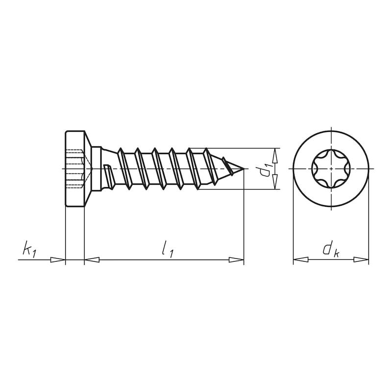 Linsensenkkopf-Blechschraube mit AW-Antrieb Gleitbeschichtet - 2