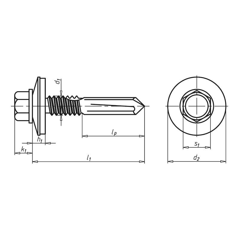 Bohrschraube Sechskantkopf  mit langer Bohrspitze und Dichtscheibe pias<SUP>®</SUP> - 2