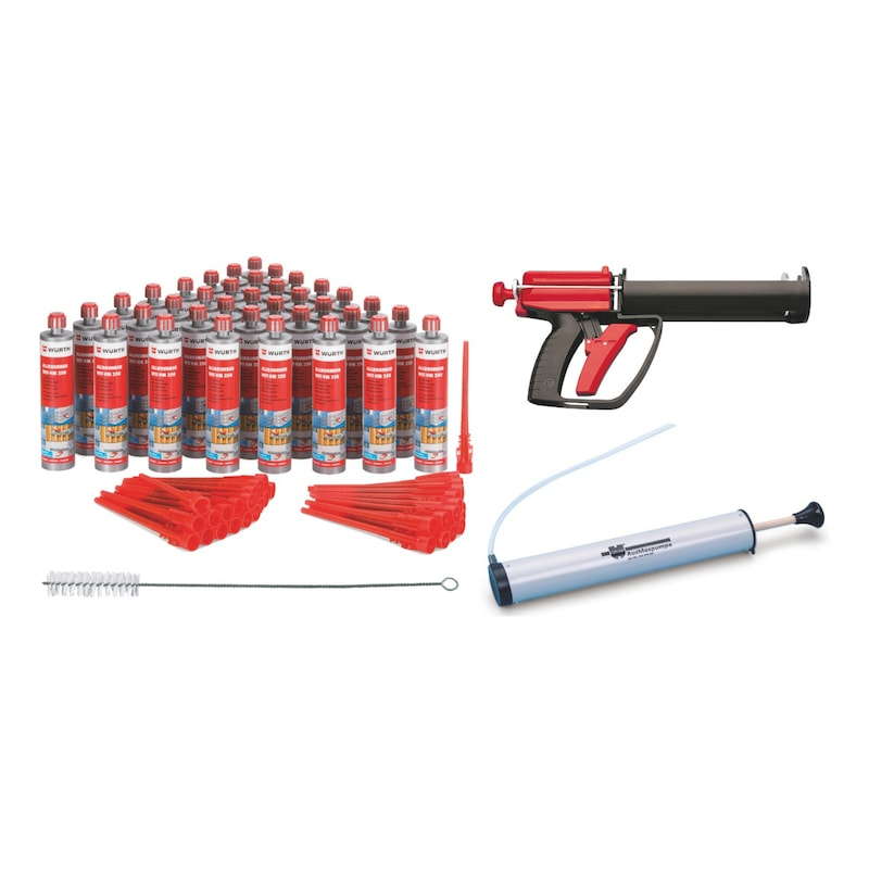 Lot de cartouches de mortier chimique WIT-VM 250 avec accessoires de mise en oeuvre