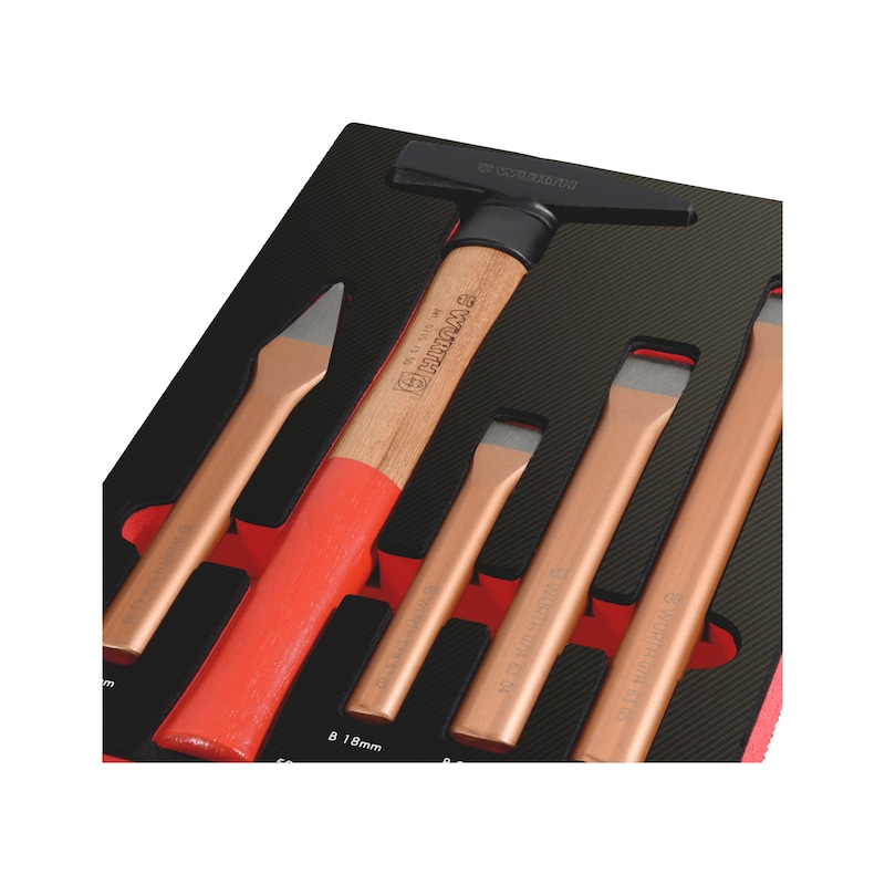 Striking tool set 4.4.1, 5 pieces - MODULO 4.4.1. MARTELO E ESCOPROS - 5 PCS