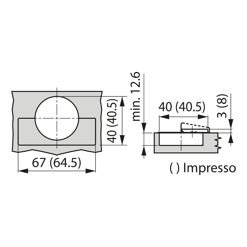 Verzonken scharnier TIOMOS Impresso 95 TIOMOS 95 - SHAN-TS-IMPRESSO-95-HS-BB-K19
