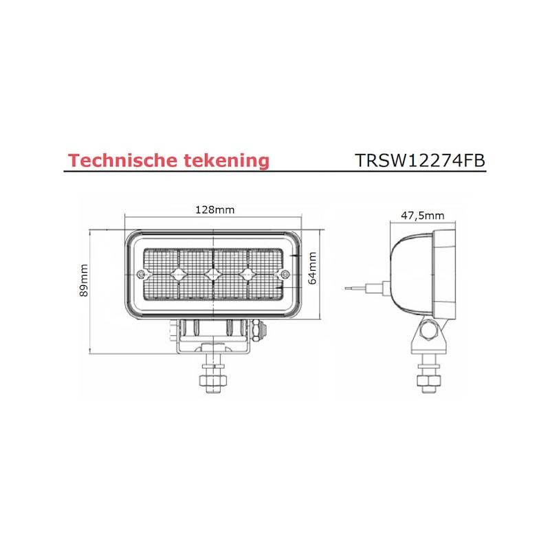 LED werklamp 8 x 1,5 watt LED's - 1136 lumen - LED-WERKLAMP-12W-1136LUMEN-(9-36V)
