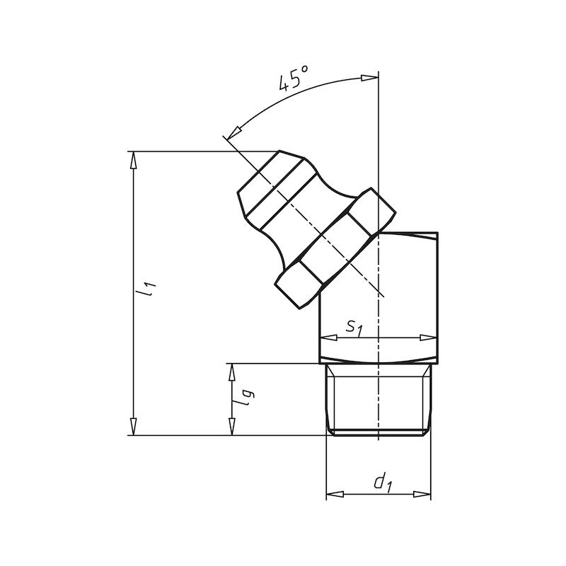 Kegelnippel 45°, Form B - NPL-DIN71412-H2-(A2K)-M10X1,5