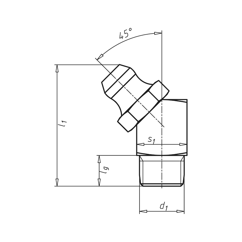 Kegelnippel 45°, Form B - 2