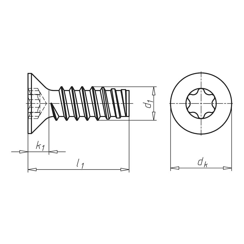 Senk-Blechschraube Form F mit Innensechsrund - 2