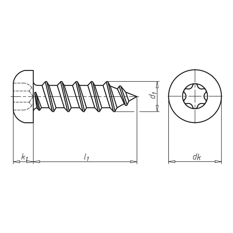 Linsen-Blechschraube Form C mit AW-Antrieb und Gleitbeschichtung - 2
