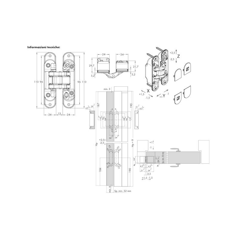 Cerniera invisibile regolabile 3D ATOMIKA SLIM - CERNIERA-INV-3D-ATOMIKA-BRONZO-OPACO