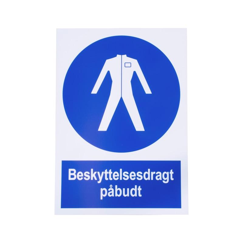 Påbudsskilt - PÅBUDSSKILT - BESKYTTELSESDRAGT