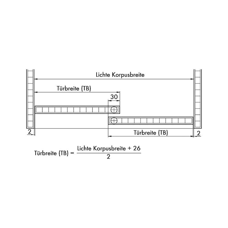 Möbelschiebetürbeschlag-Set redoslide M35-HE - 4