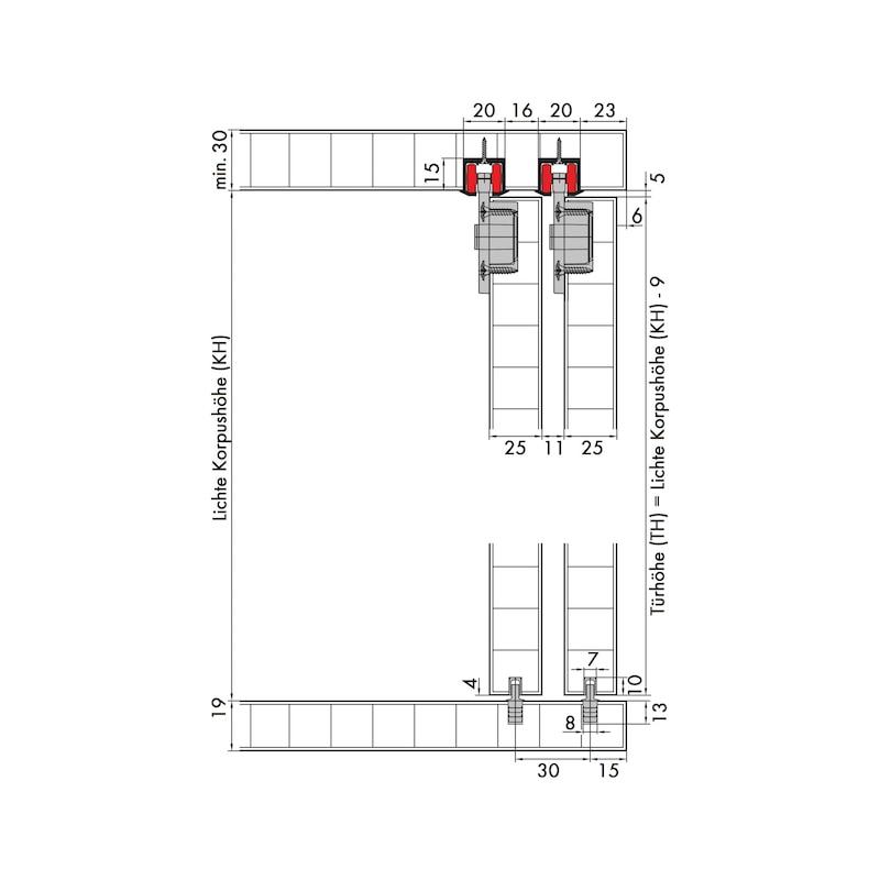 Möbelschiebetürbeschlag-Set redoslide M35-HE - 3