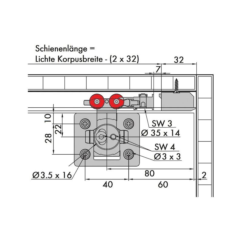 Möbelschiebetürbeschlag-Set redoslide M35-HE - SHIEBTRBSHLG-REDOSLID-M35-HE-3TR