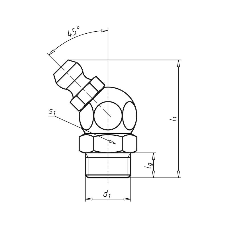 Kegelschmiernippel Form B, abgewinkelte Form 45° - 2