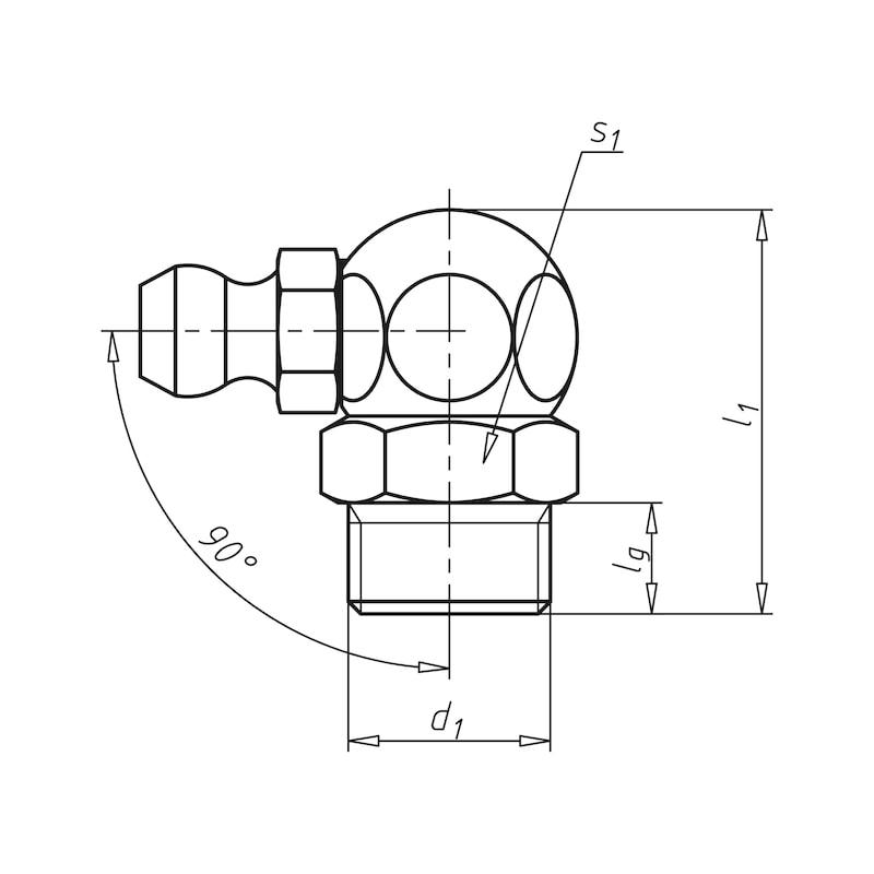 Kegelschmiernippel 90°, abgewinkelte Form - 2