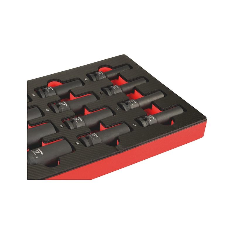 """Systemsortiment 4.4.1, krafttopnøgle, indvendig sekskant, lang 1/2"""" - 1/2"""" KRAFTTOPPE LANG INDV. 6- KT., 10-27"""