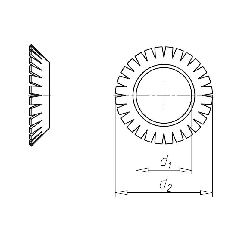 Fächerscheibe versenkbar Form V - SHB-FAECH-DIN6798-V-(A2K)-D13,0