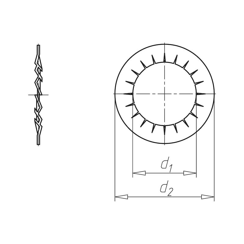 Fächerscheibe innengezahnt Form J - SHB-FAECH-DIN6798-A2-IZ-D5,3