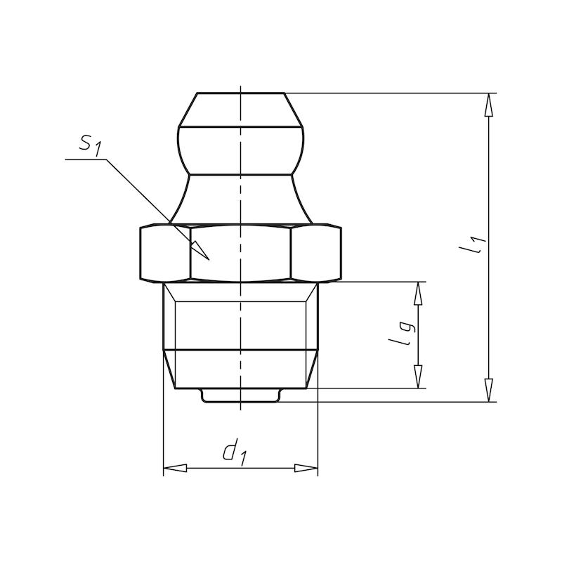 Kegelschmiernippel 180° mit Selbstformgewinde - NPL-DIN71412-H1-SFG-SW11-(A2K)-S10X1