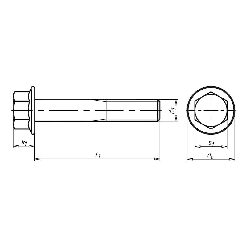 Sechskantschraube mit Flansch - SHR-EN1665-10.9-F-SW13-(ZFSHL)-M8X110