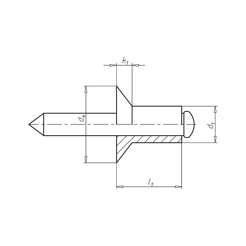 Blindniet offen mit Sollbruchdorn und Senkkopf - NT-ISO15978-L-ALU/ST-(5,0-7,0)-3,2X10