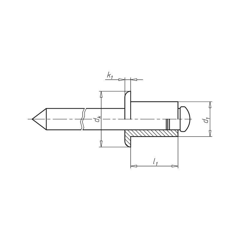 Blindniet offen mit Sollbruchdorn und Flachkopf - NT-ISO15979-ST/ST-A2K-(5,0-6,5)-4,0X10,0