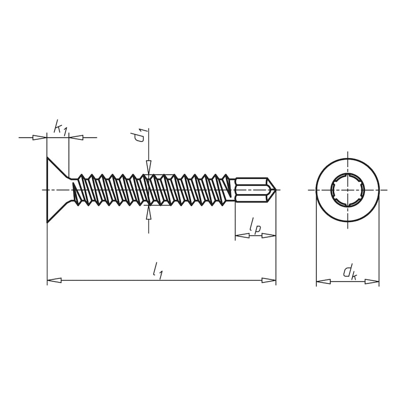 Drilling screw, countersunk head with AW drive pias<SUP>®</SUP> - 2