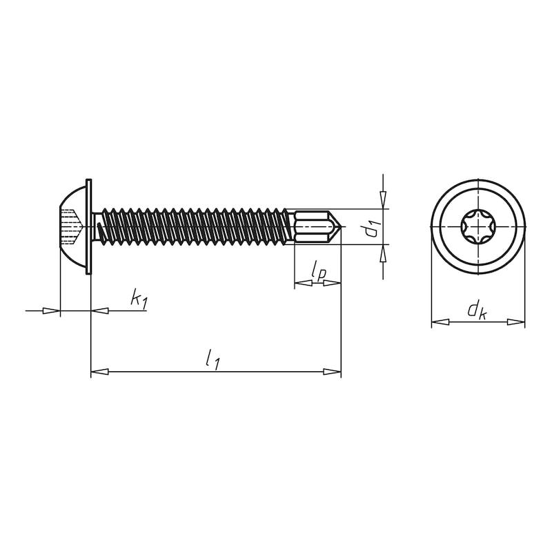 Bohrschraube Linsenkopf mit Bund und AW-Antrieb pias<SUP>®</SUP> - SHR-BSP-LIKPF-FLSH-AW20-(A3K)-4,2X13