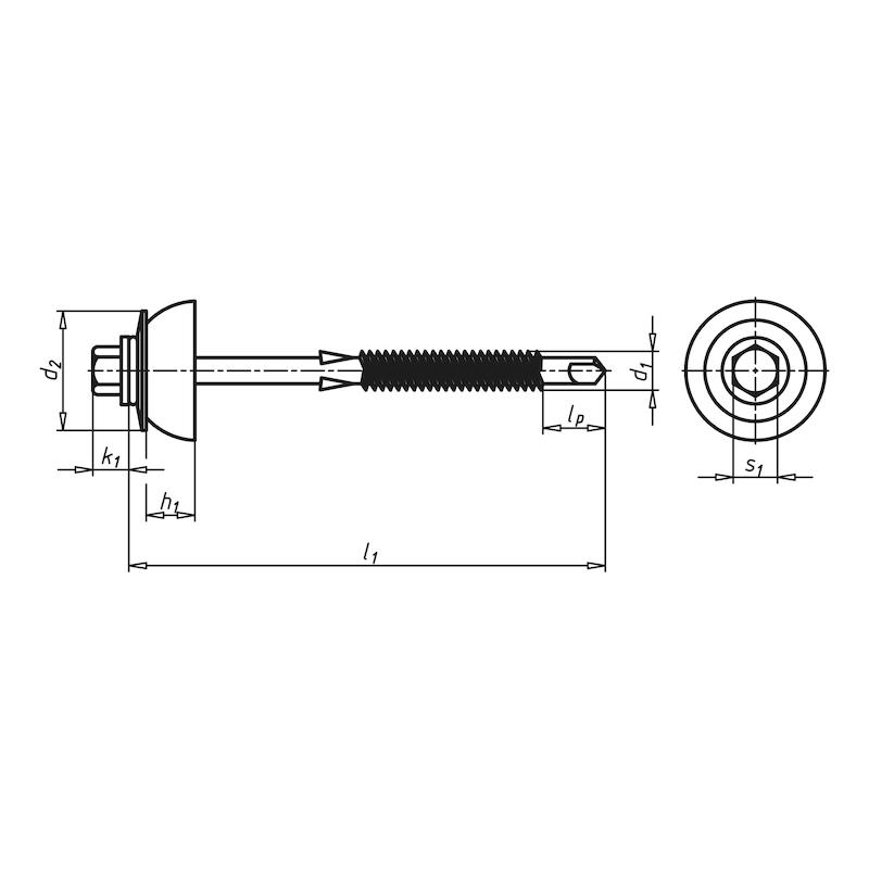 Bohrschraube mit Sechskantkopf und Dichtscheibe WFBS Typ Holz - 2