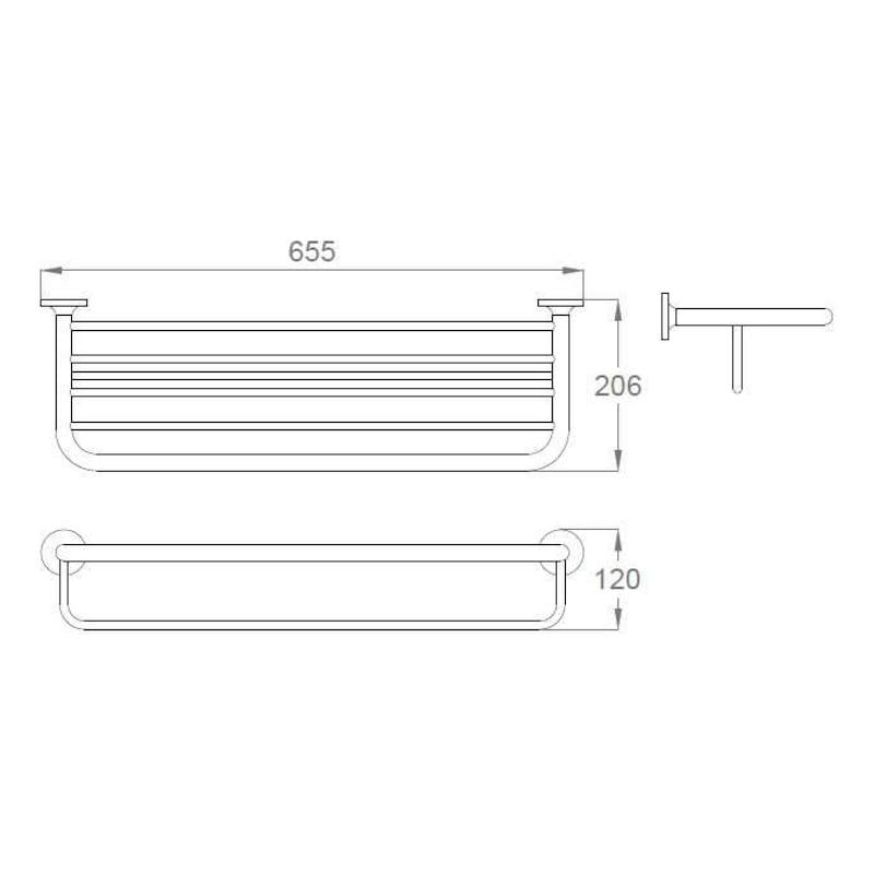 Tablette de rangement avec barre porte-serviette GIRONA - 2