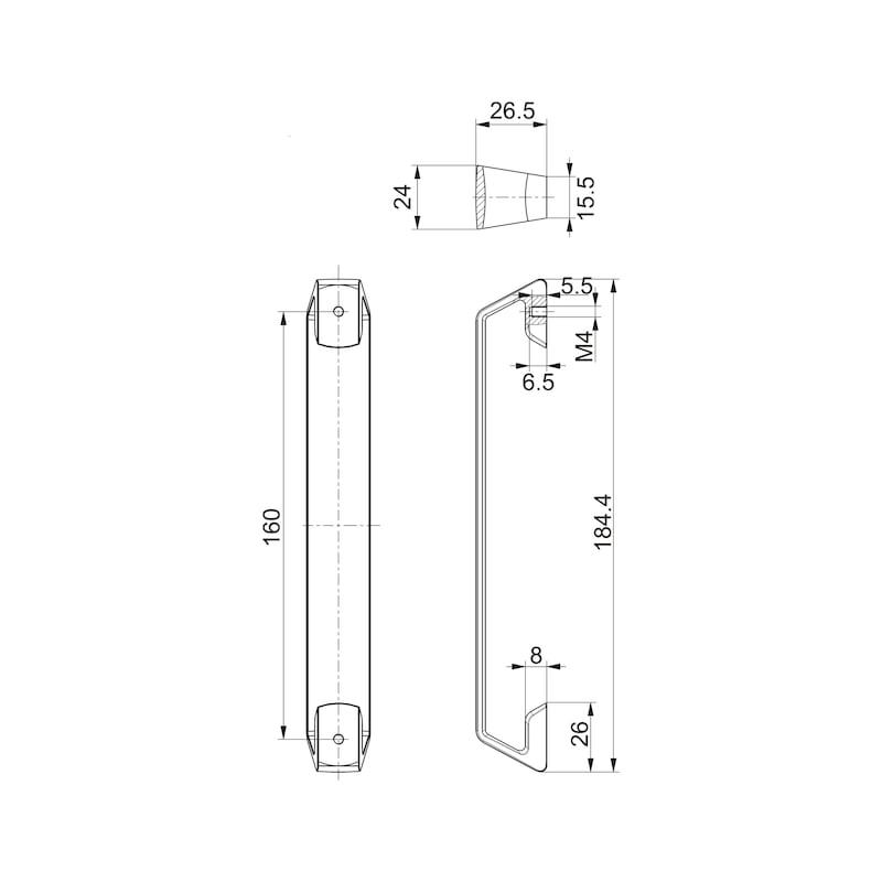 Design-Möbelgriff Bügelform MG-ZD 25 - GRF-DESIGN-BGL-MG-ZD-25-(SCHWARZ-MATT)