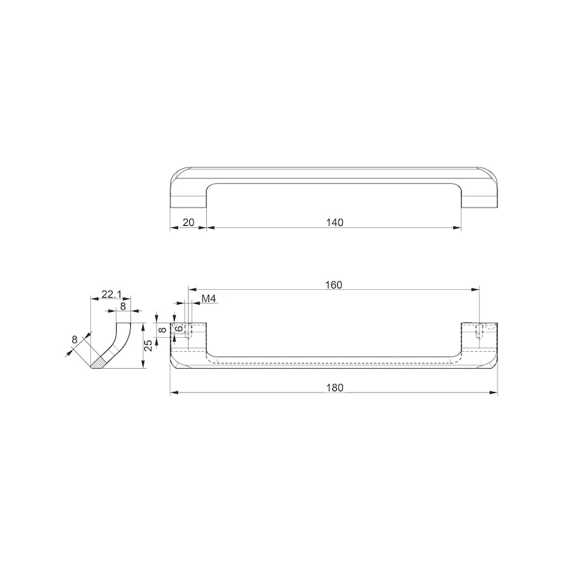 Design-Möbelgriff Bügelform MG-ZD 26 - 2