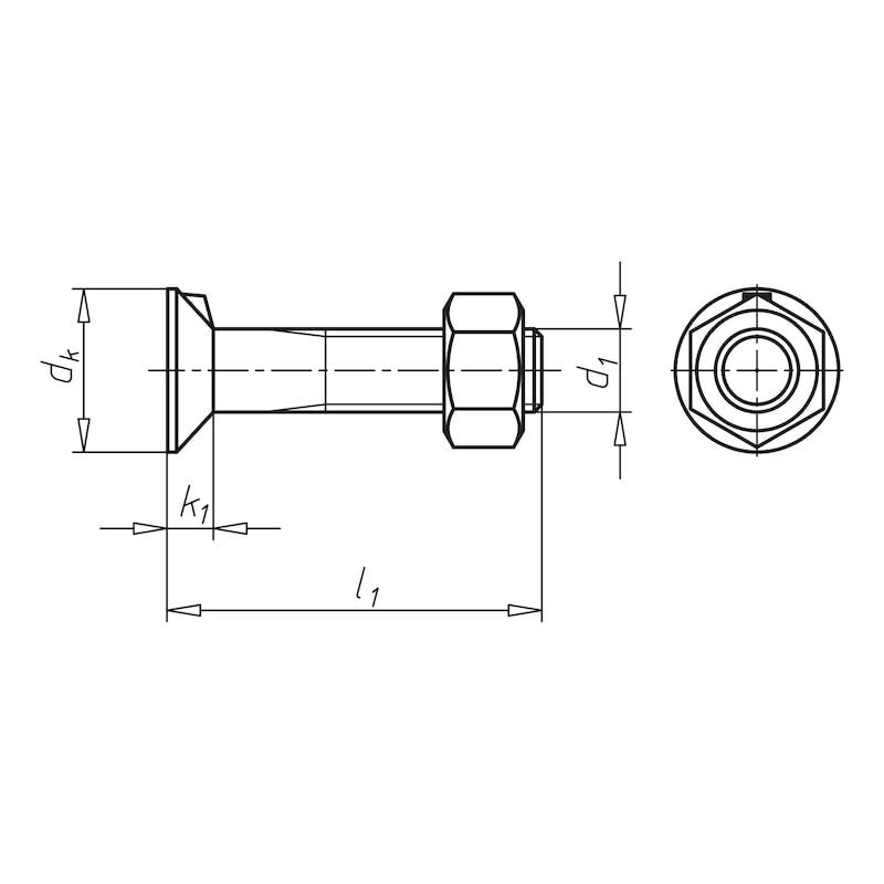 Senkschraube mit Nase und Mutter - SHR-SEKPF-DIN604-M.MU-8.8-M16X50