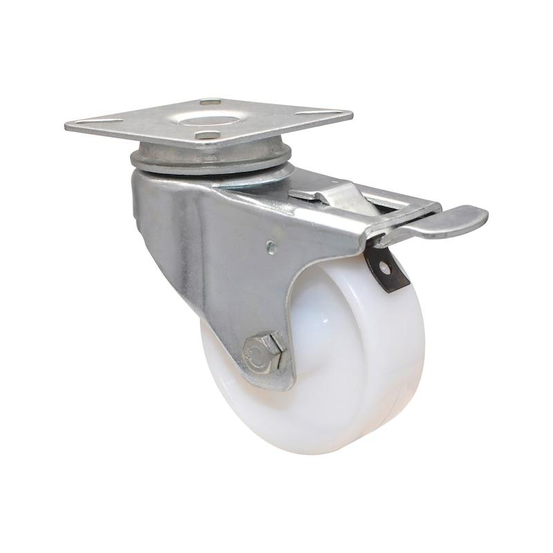 Apparate-Lenkrolle hart mit kleiner Platte und Feststeller