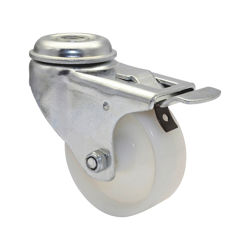Apparate-Lenkrolle hart mit Feststeller und Rückenloch