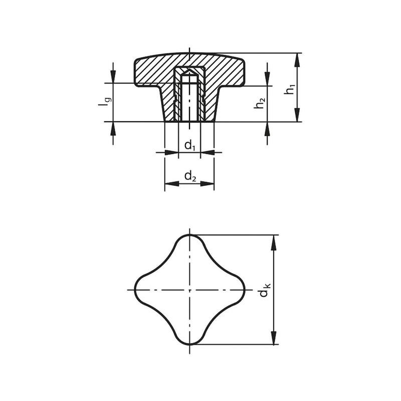 Kreuzgriff Duroplast Innengewinde mit Gewindebuchse - 2