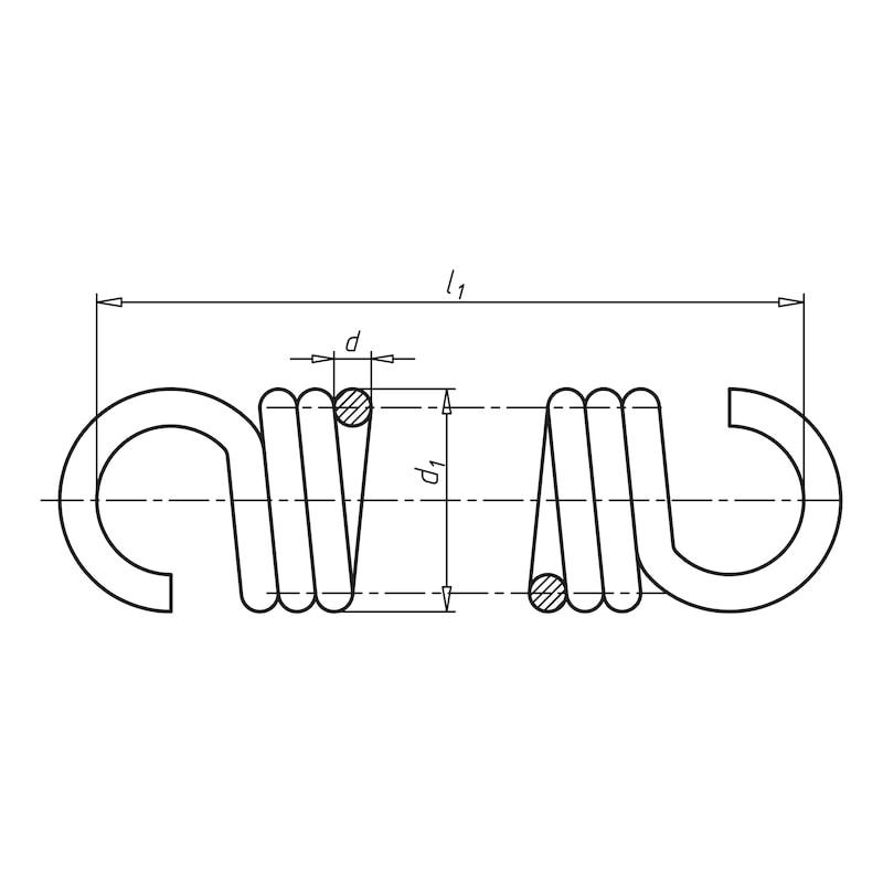 ダブルアイ付きテンションスプリング - 引きバネ 0.6X7.0X55