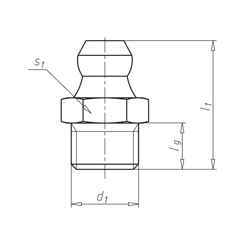 Kegelschmiernippel 180°, gerade Form, Zoll - 2