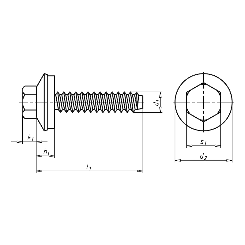Fassadenbauschraube mit Sechskantkopf und Dichtscheibe Faba<SUP>®</SUP> Typ BZ - SHR-BZ-SHB16-SW3/8-(A2K)-6,3X38