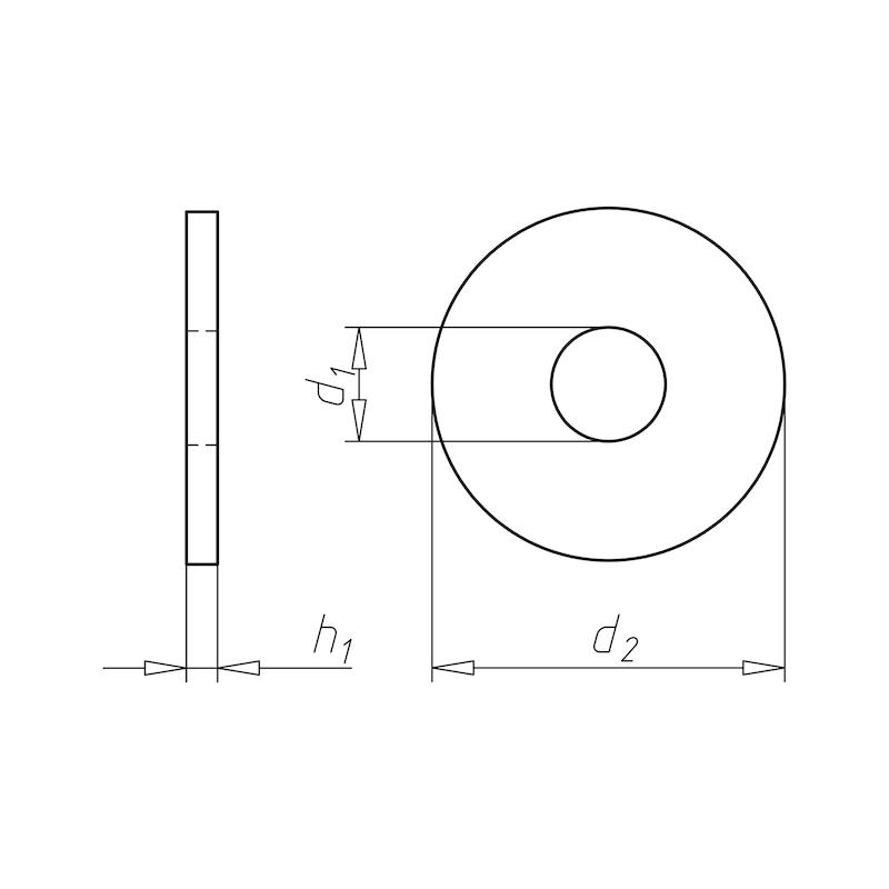 Scheibe mit Rundloch, vorwiegend für Holzkonstruktion - SHB-HO-DIN440-R-(A2K)-6,6X22X2