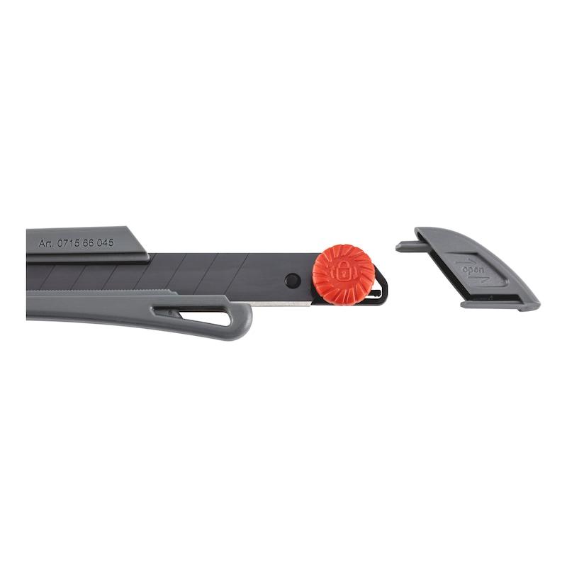 ロックホイール付きカッターナイフECO - カッターナイフ 中グリップ黒 中刃