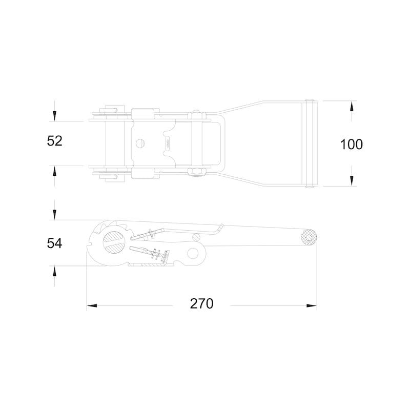 Surringsstrop med spids skralde/dobbeltkrog standard - SURRINGSSTROP MED KROG 5T 50MM