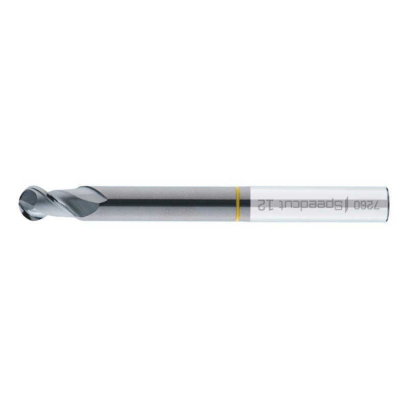 VHM-Vollradiusfräser Speedcut-Aluminium, extra lang XXL, freigestellt, Zweischneider, ungleiche Drallsteigung - 1