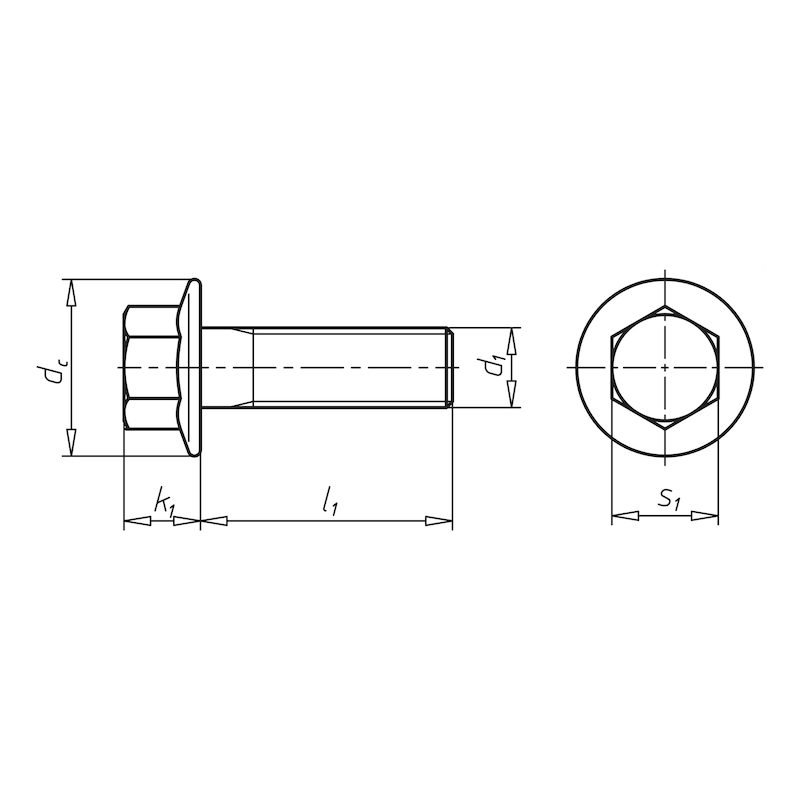 Hexagonal bolt with flange in accordance with MBN standard - 2