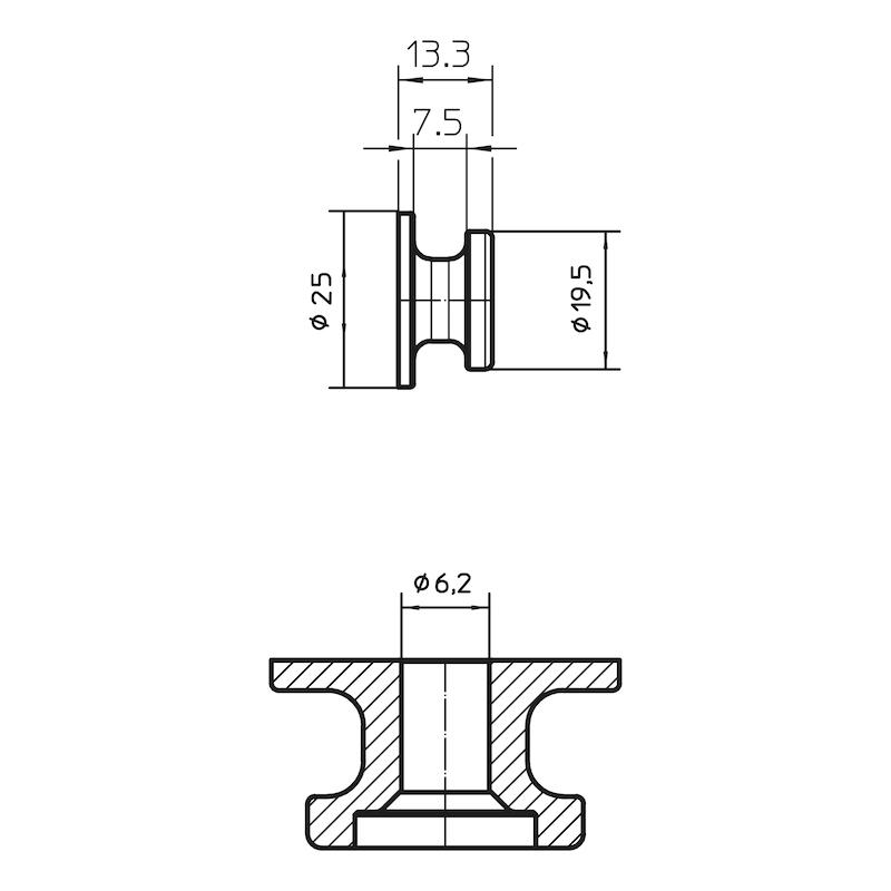 Round button - KNOB-ROUND-PLA-BLACK-D20MM